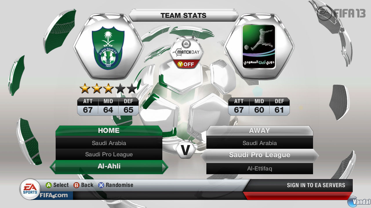 FIFA 13 muestra el men de la Primera Divisin saudita. 