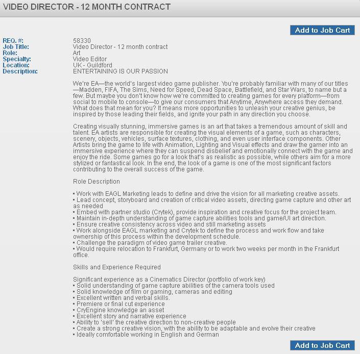 Un anuncio de trabajo menciona un nuevo juego de EA y Crytek