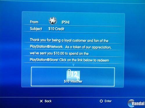Sony estar�a regalando 10 d�lares en descargas a algunos usuarios de PlayStation Network