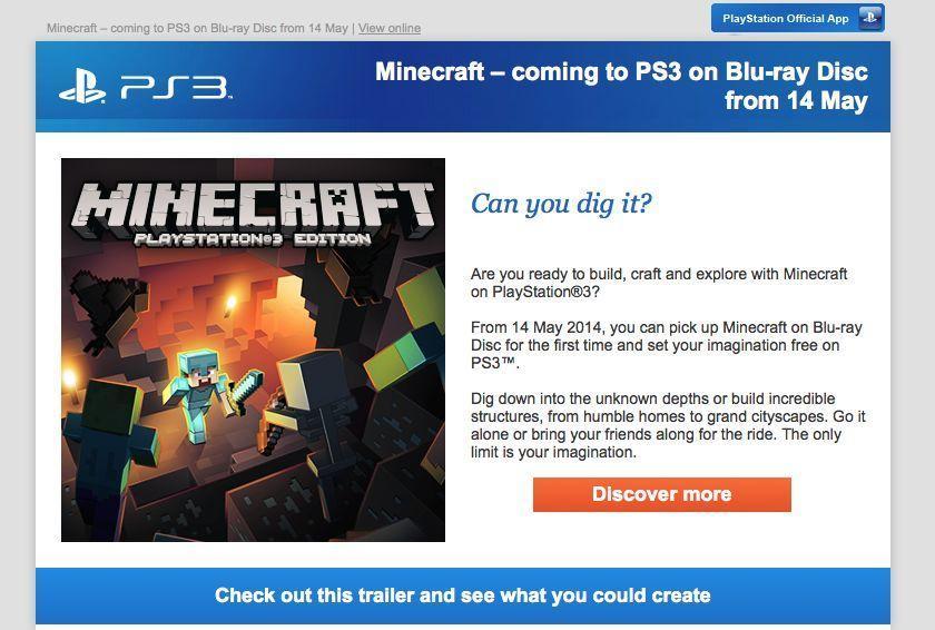 Minecraft llegará en formato físico a PS3, PS4 y PSVita