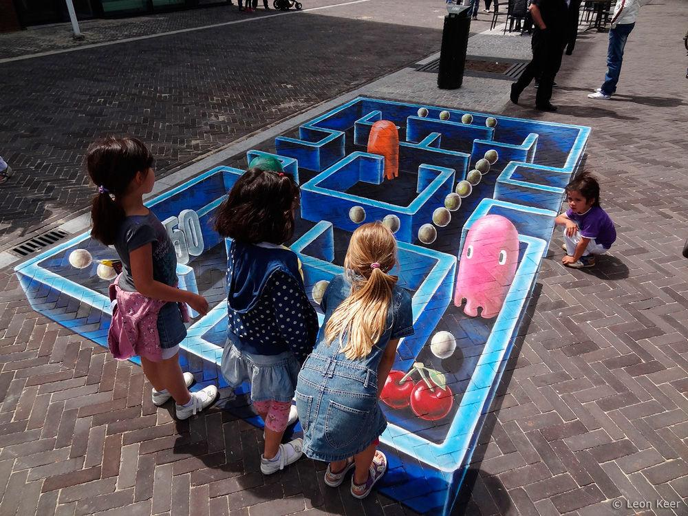 Pac-Man es inspiración para una pintura de efecto tridimensional