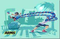 Nintendo presents the game play of Spring Man at ARMS