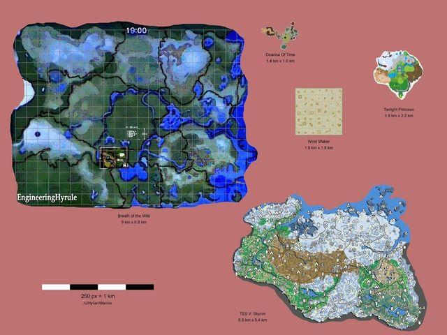 Confrontare la dimensione della mappa di The Legend of Zelda: il Respiro della natura con altri Zelda