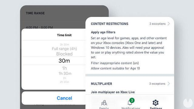 Xbox launches the app Xbox Family Settings to manage the activity of minors