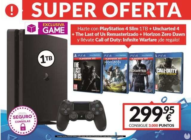 GAME announces a new pack of PS4 Slim 1TB plus 4 games for 299,95 eur