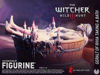 figure of Geralt of Rivia taking a bath becomes reality